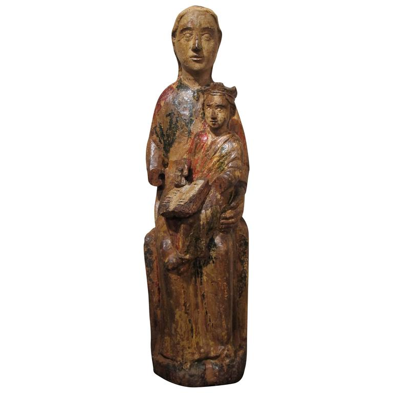 Wood Sculpture, the Virgin and Child in Majesty, 12th-13th Century