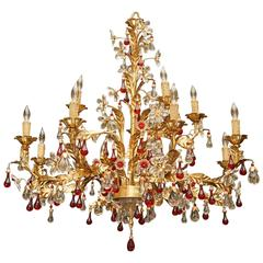 Vintage Italian Wrought Iron and Two Color Crystal Twelve-Light Chandelier