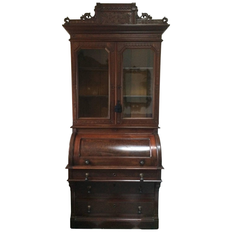 Eastlake cylinder roll top desk or secretary for sale at for Eastlake storage