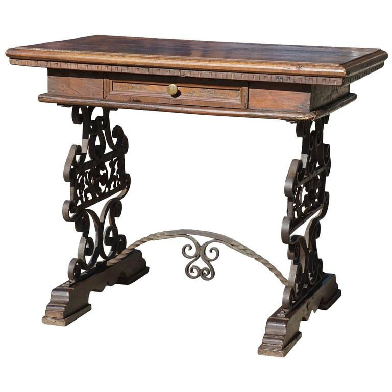 Late 19th Century Italian Walnut and Hand-Wrought Iron Low Table