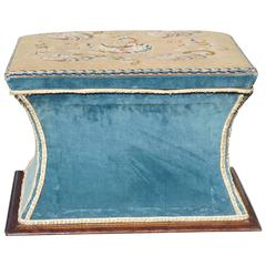 Late Regency Upholstered Storage Ottoman in Rosewood
