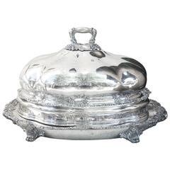 Very Large and Impressive Victorian Silver Plate Covered Meat Platter