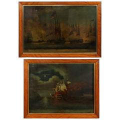 Pair of English 19th Century Reverse Paintings on Glass of Naval Battles