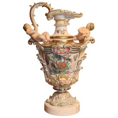 Large porcelain vase- English Mason's mark in the form of a  Ewer, 19th Century