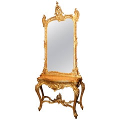Giltwood Console with Mirror, Rococo Style, Marble top