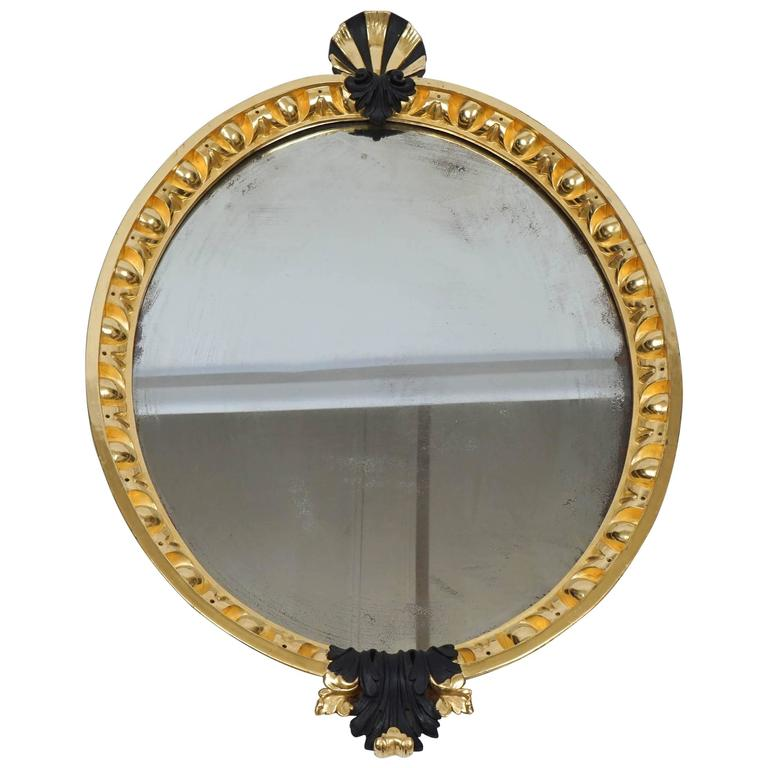 George II Gilt and Ebonized Looking Glass Mirror after William Kent, c. 1740