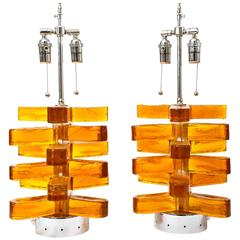 Pair of Amber Murano Glass Lamps Featuring Interior Light with Chrome Detail
