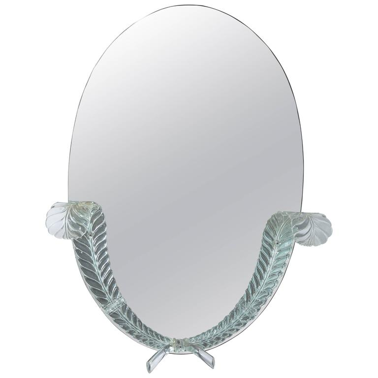 "Lucite Detailed Oval Mirror by the ""Grosfeld House"" Company For Sale"