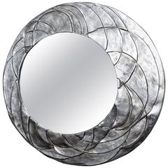 Asymetrical Ovoid Mirror with Textured Relief Aluminium Surround