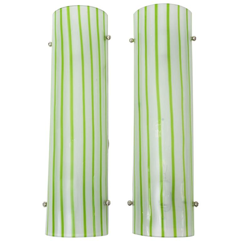 Pair of Green and White Striped Murano Glass Sconces by Salviati For Sale