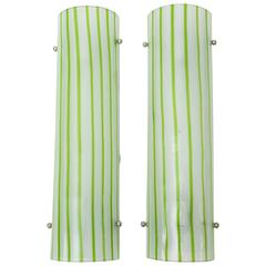 Pair of Green and White Striped Murano Glass Sconces by Salviati