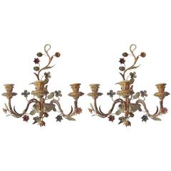 Pair of Polychromed Three-Light Candle Sconces