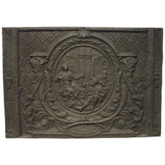 Large and Rare Period Louis XIV Fireback from France