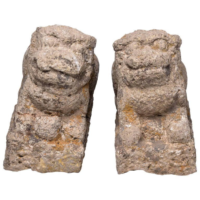 Stone Archaic China Lions or Dogs Foe, probably Ming Dinasty For Sale