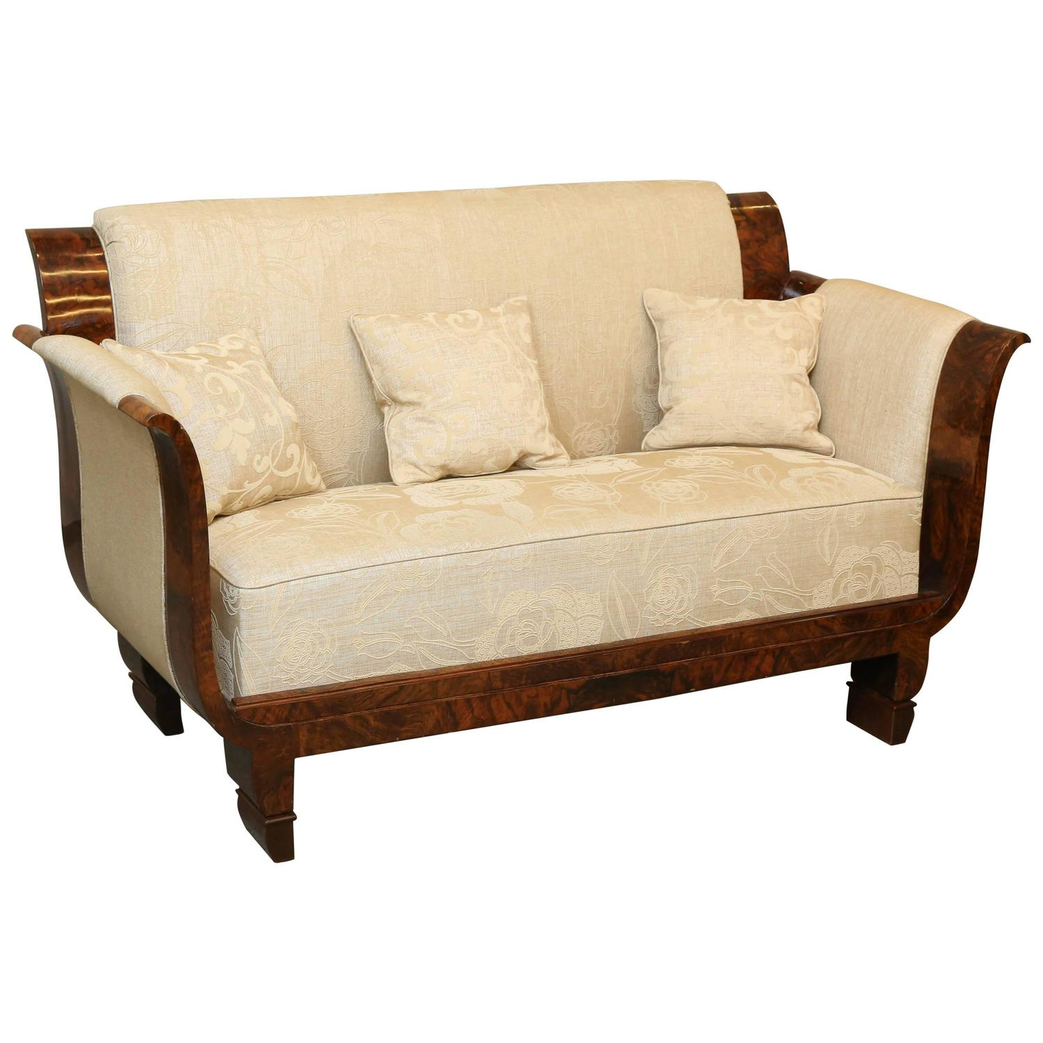 french art deco walnut parlor loveseat at 1stdibs
