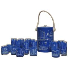 Set of Signed 1950s Georges Briard Nautical Barware
