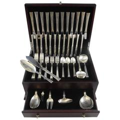 Bell by Hans Hansen Danish Sterling Silver Flatware Set 12 Service 80 Pc Modern