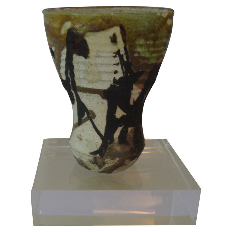 Paul Soldner Raku Vessel For Sale