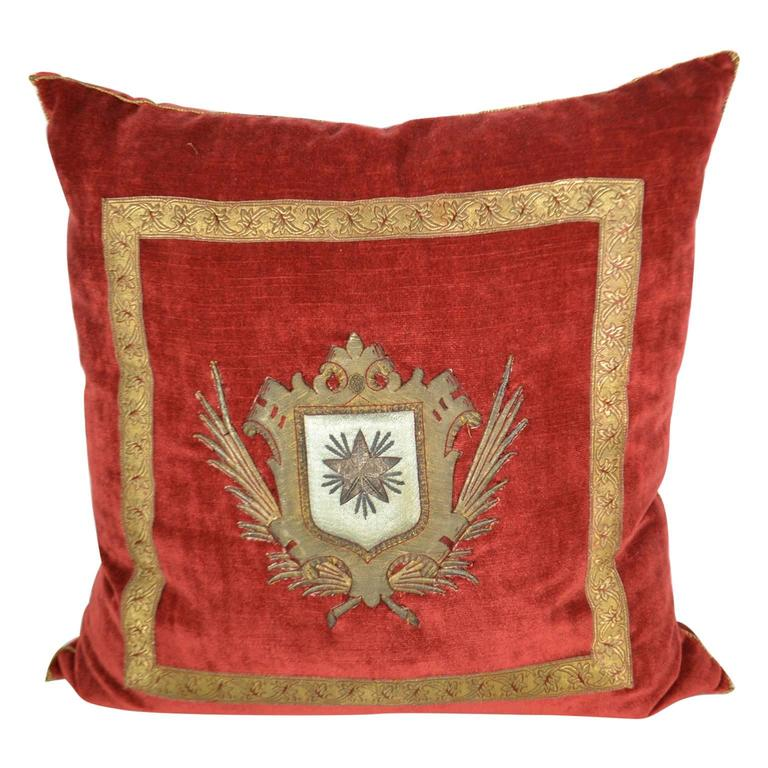 Pillow with Red Velvet Fabric and Antique Trim and Crest