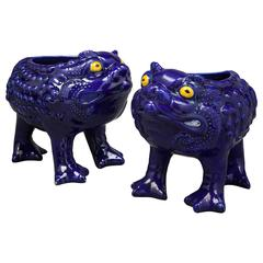 Pair of English Minton Majolica Frog Cachepots, circa 1880