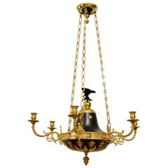 Swedish Empire Gilt and Bronze Chandelier