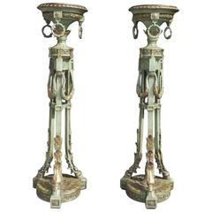 Pair of Italian Painted and Gilt Floral Torchieres, Circa 1840