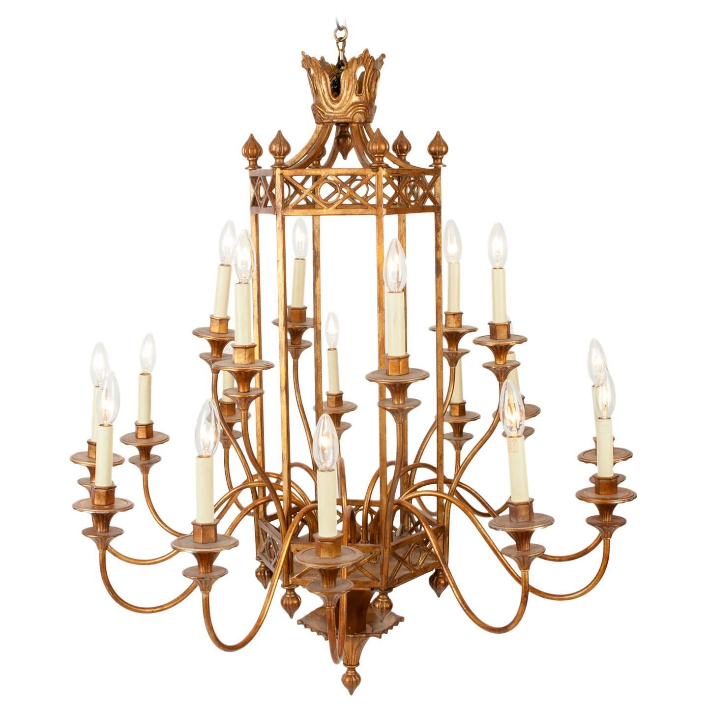 Vintage Gold Painted Finish Chandelier at 1stdibs