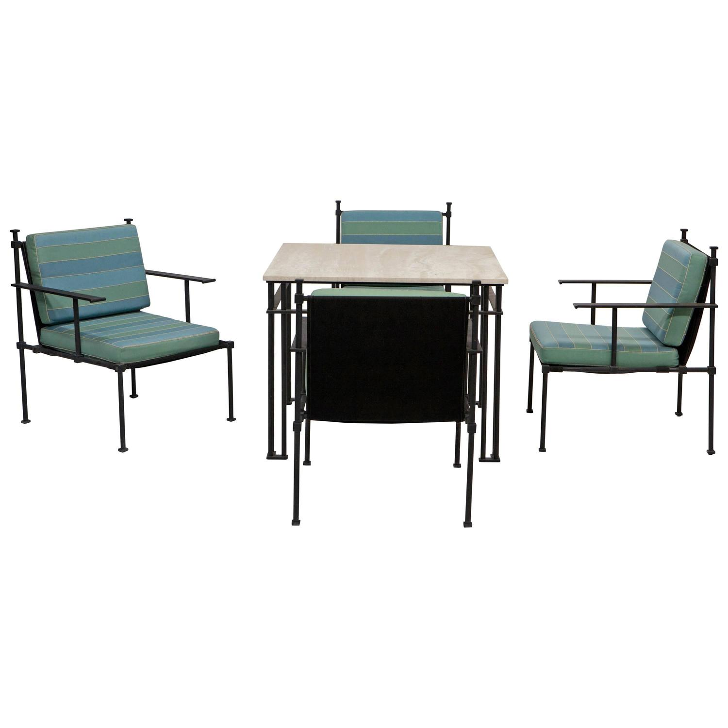 Vintage Card Table with Set of Four Chairs at 1stdibs