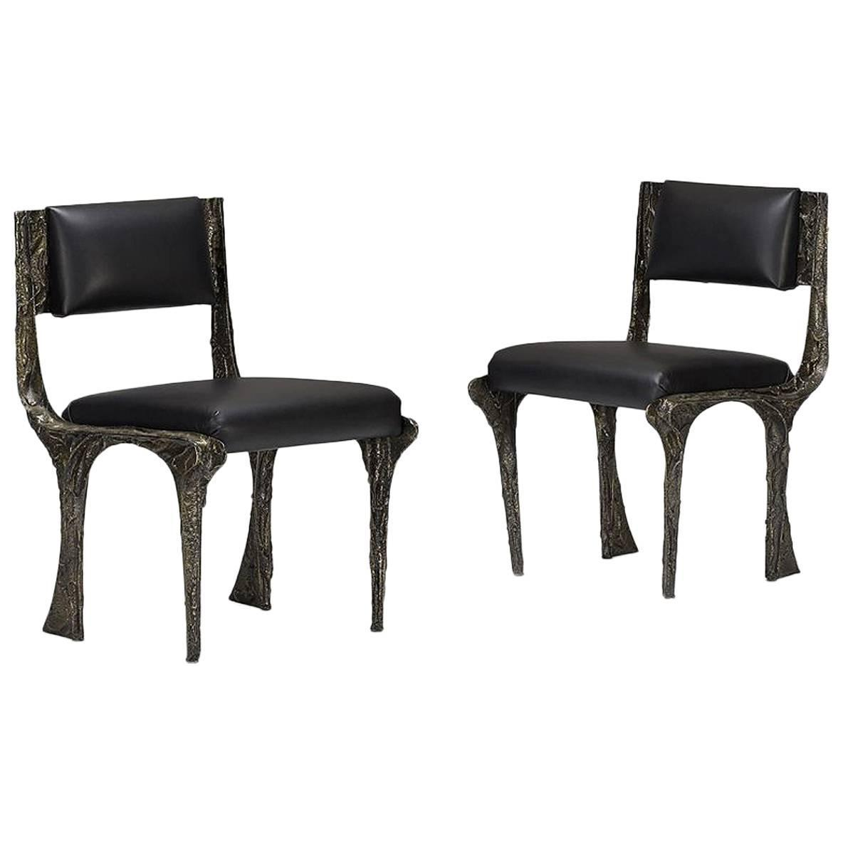 Pair of Sculpted Bronze Chairs by Paul Evans at 1stdibs