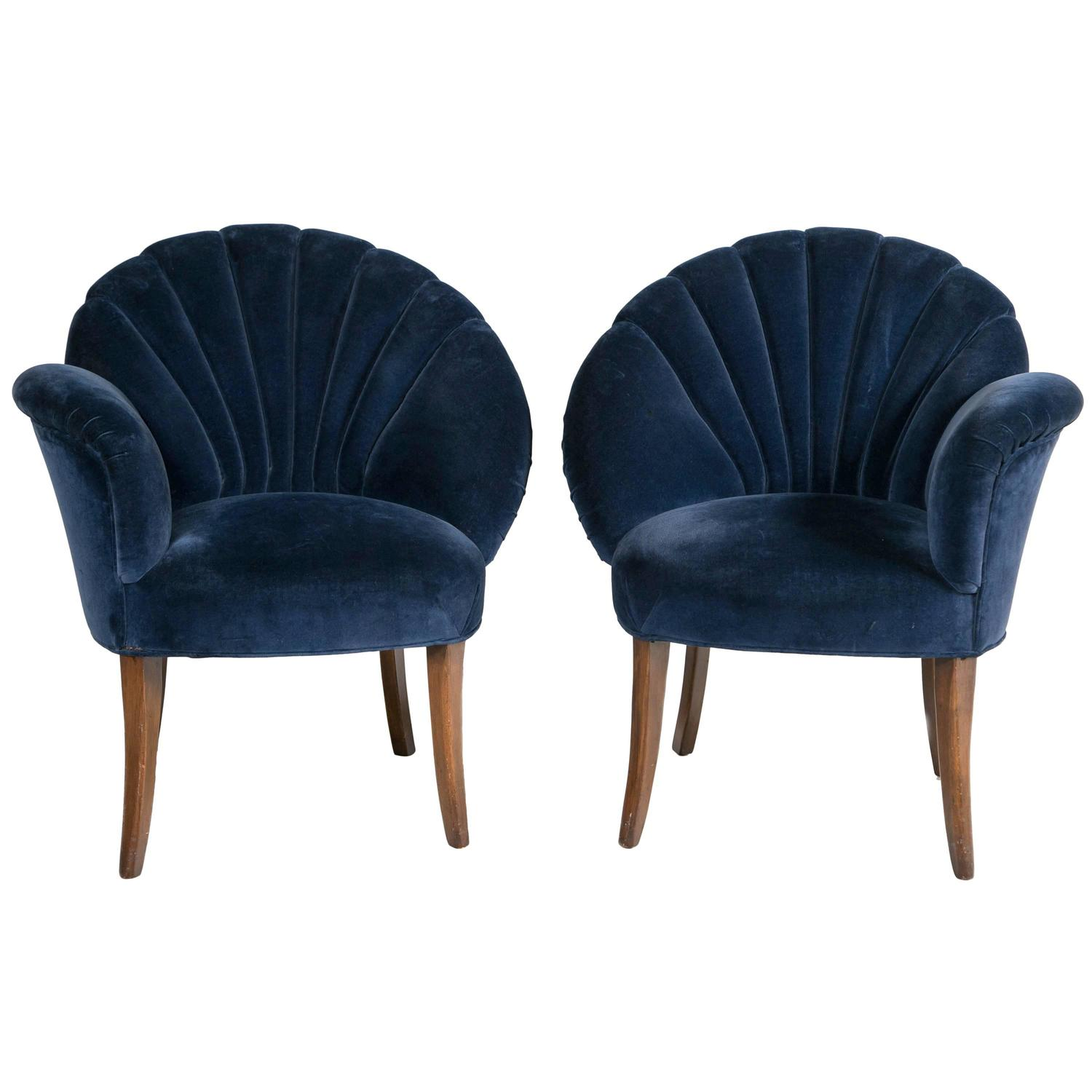 Pair Of Art Deco Velvet Chairs At 1stdibs