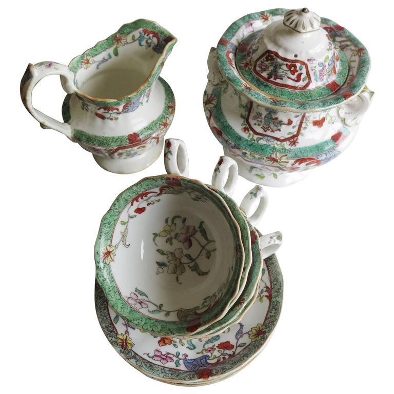 William IV th Mason's 10-Piece Tea Set English Porcelain, circa 1830