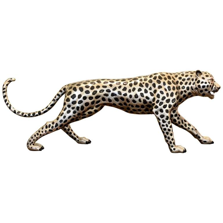 Cheetah in Black and Silvered Bronze For Sale