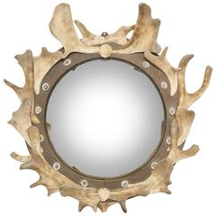Antler and Wood Mounted Round Frame with Inset Convex Mirrored Glass