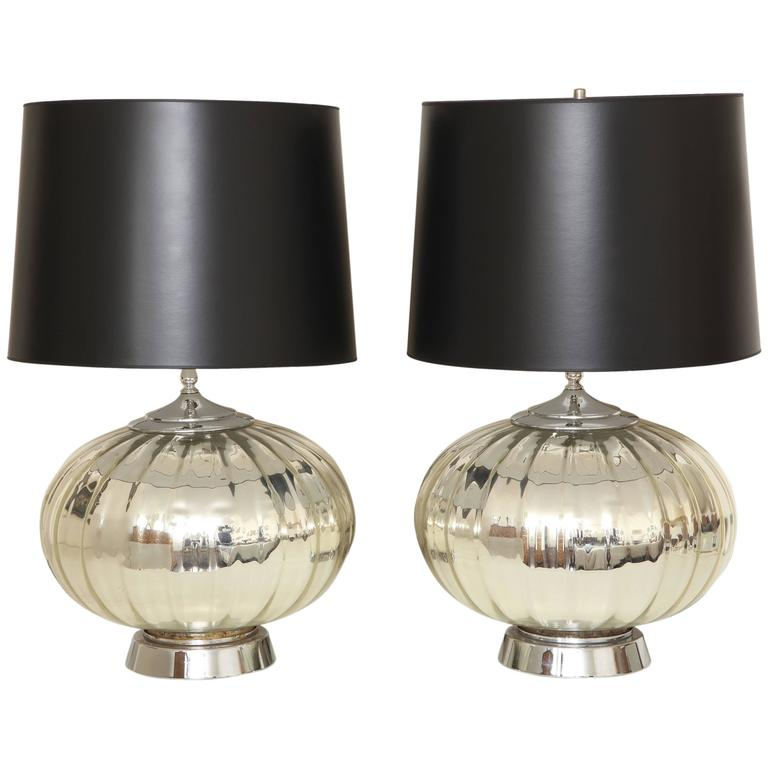 Pair of Mid century Modern Ribbed Mercury Glass Table Lamps