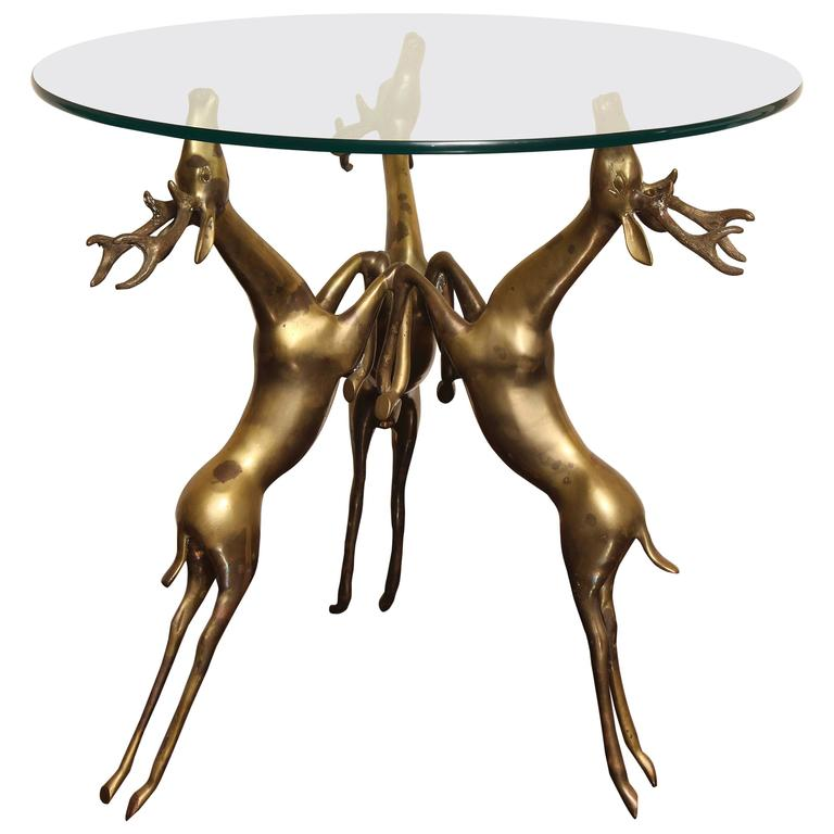 Bronze Woman Coffee Table: Glass-Top Coffee Or Side Table, Base With Three Bronze