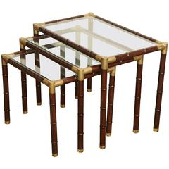 Set of Billy Haines Faux Bamboo and Brass Nesting Tables