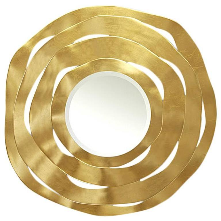 Round Gold Ribbon Mirror with Four Carved Wood Shaving Circles