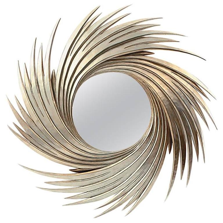 Sunrise Mirror with Convex Mirror Glass Silver Finish For Sale