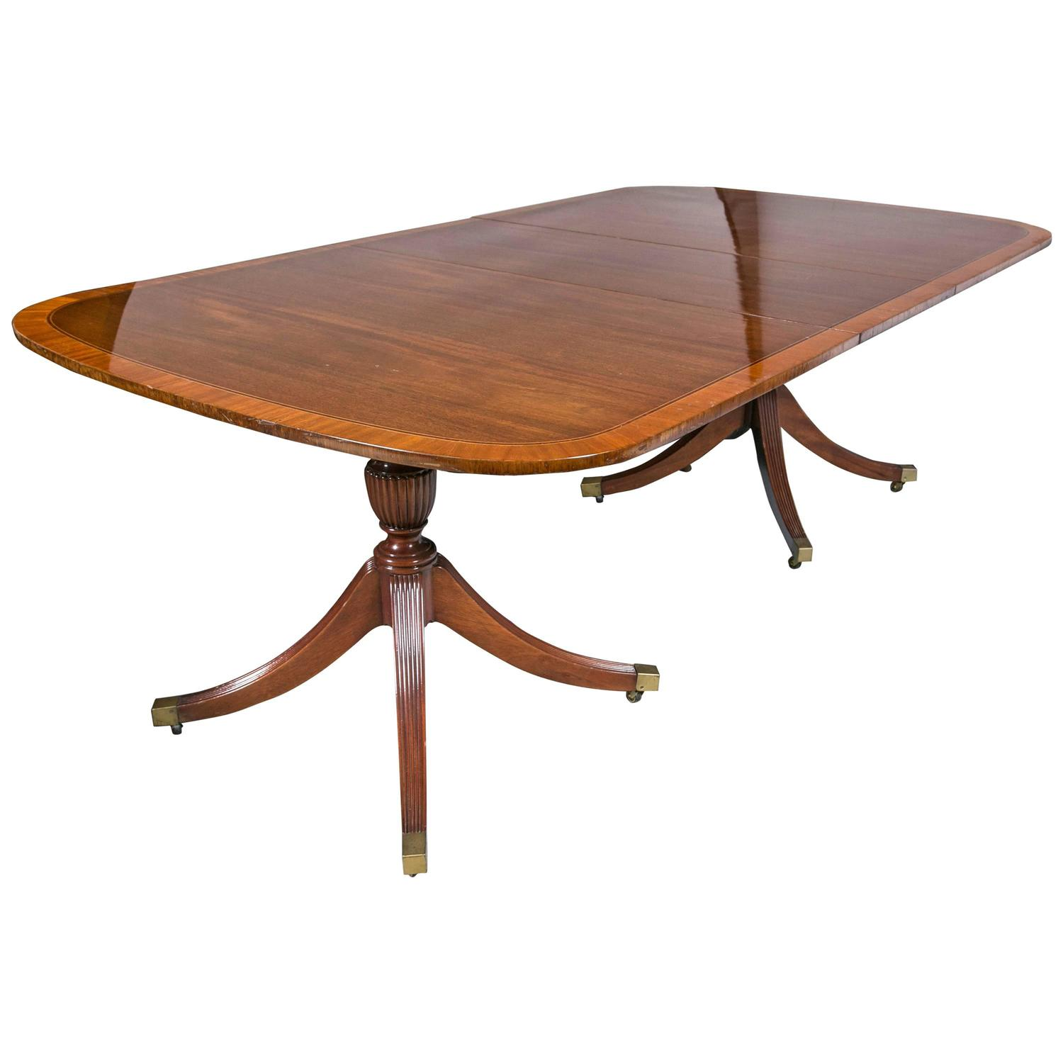 Georgian Style Mahogany Banded Dining Table By Baker With Two