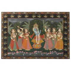 Large Pichhavai Painting of Krishna with Female Gopis Dancing