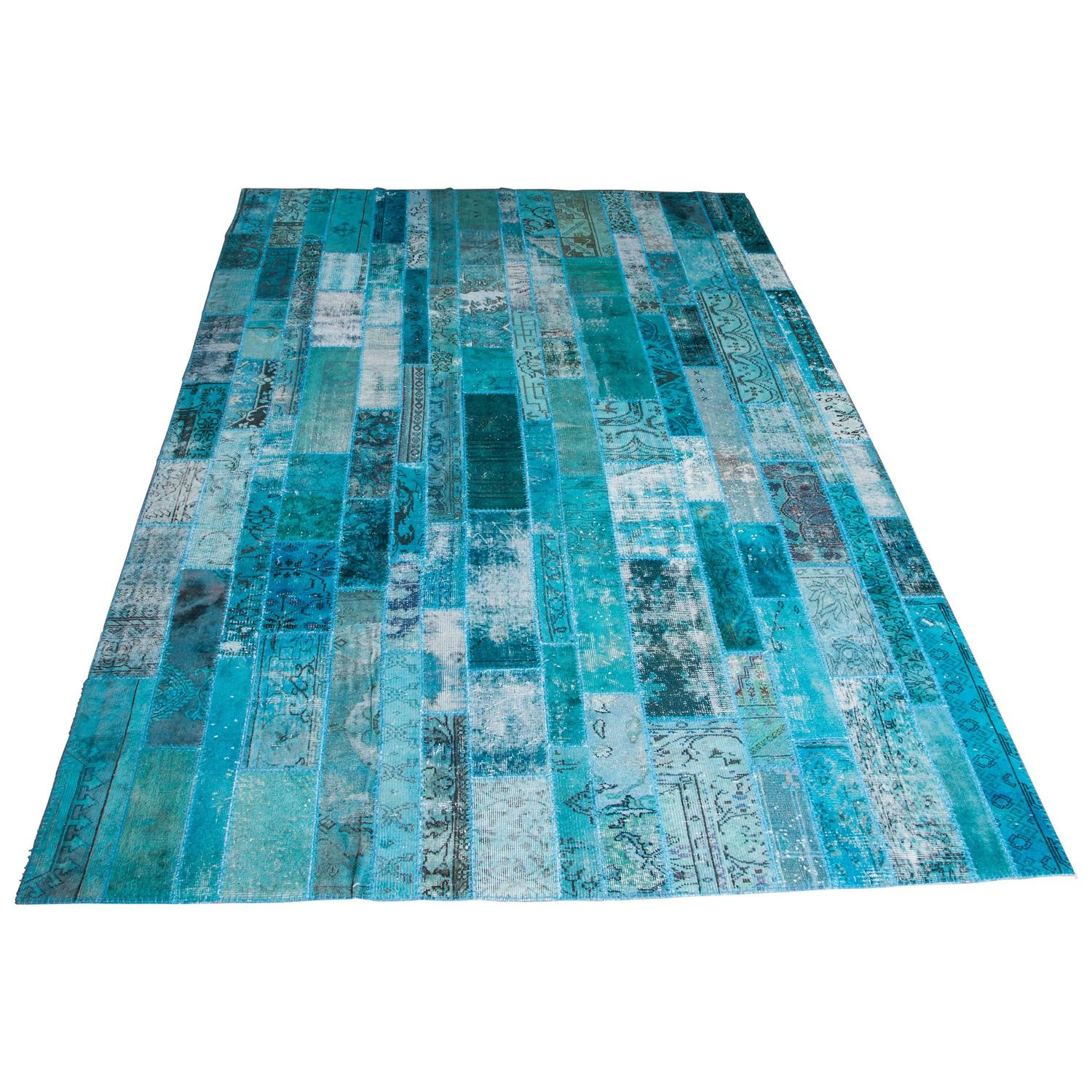 Teal Turkish Kilim Patchwork Rug At 1stdibs