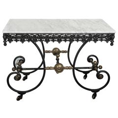 Antique French Cast Iron, Wrought Iron and Brass Butcher Table, circa 1900