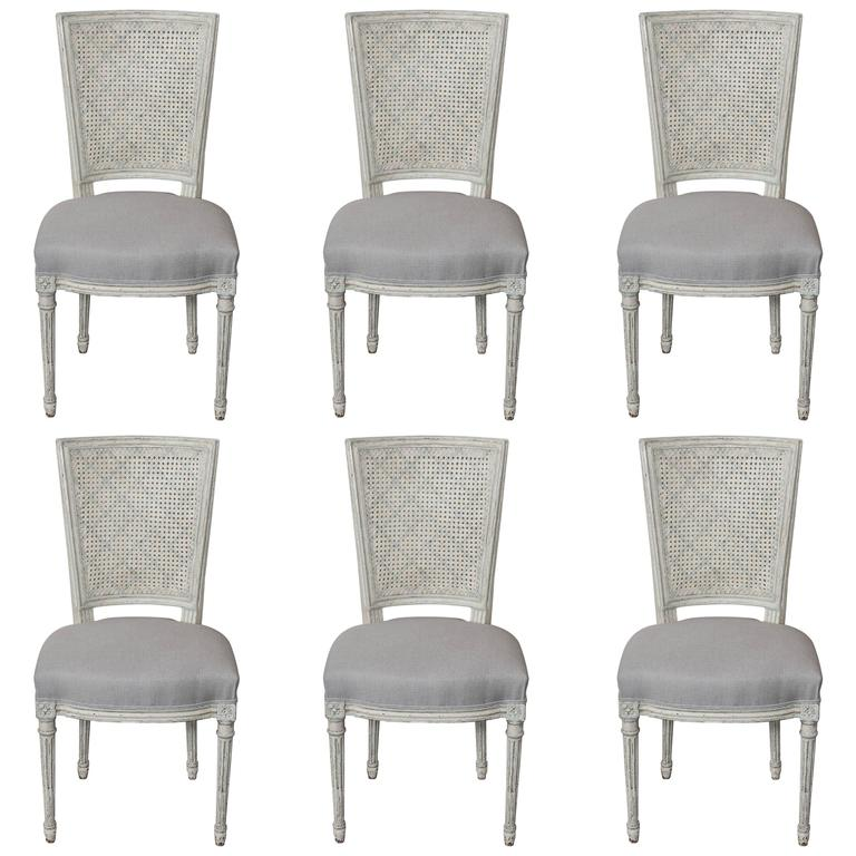 Set of Six Fully Restored French Louis XVI / Seize Style Dining Chairs For Sale