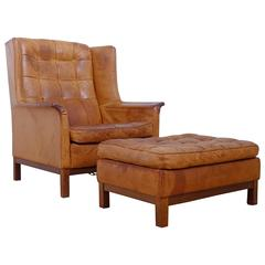 Arne Norell Buffalo Leather Easy Chair with Ottoman