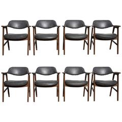 Set of 8 Swedish Mid-Century Modern Mahogany Curved Cut-Out Barrel Chairs