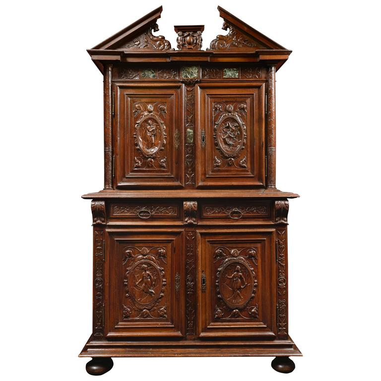 French Henri IV 16th Century Walnut Cabinet with Marble Inlays