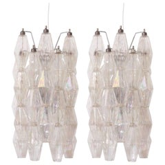 Pair of Murano Glass Polyhedral Pearl Sconces or Wall Lamps by Venini