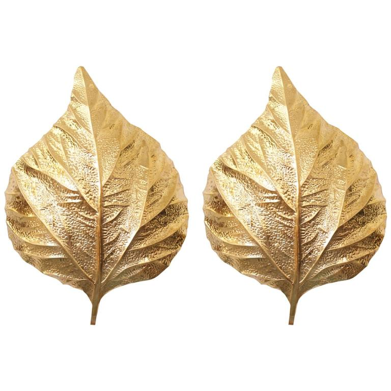Pair of  Huge Rhaburb Leaf Brass Wall Lights or Sconces by Tommaso Barbi For Sale