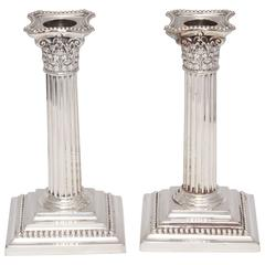 Pair of Edwardian Sterling Silver Corinthian Column Candlesticks