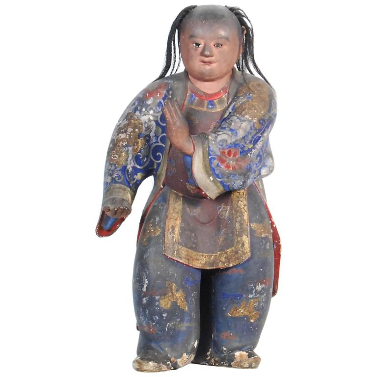 Rare Antique Statue of a Chinese Child Performing Tai Chi